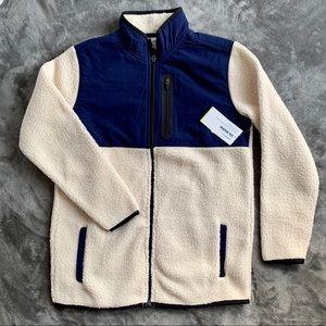 Old Navy   blue & white sherpa athletic jacket